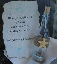 Will You Be My Bridesmaid Maid of Honor Flower Girl Message In a Bottle- Destination or Beach Wedding - product images  of
