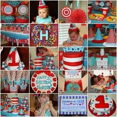 Dr. Suess Birthday Party. Cute!!