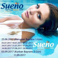 Sueno Hotels Beach Side; 🔸25.06.2017 (Ramazan Bayramı 1.Gün) 03.07.2017 10.07.2017 17.07.2017 24.07.2017 31.07.2017 07.08.2017 14.08.2017 21.08.2017 28.08.2017 🔹03.09.2017 (Kurban Bayramı 3.Gün) 11.09.2017 🔶Sueno Hotels Deluxe Belek; 🔹27.06.2017 (Ramazan Bayramı 3.Gün) 14.07.2017 28.07.2017 04.08.2017 18.08.2017 🔸01.09.2017 (Kurban Bayramı 1.Gün) 15.09.2017  @sueno_hotels #sibelcan