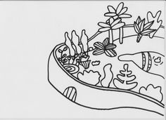 zwart wit prent: tuin bloemenkoningin (de knuffelkoningin)