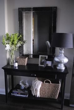 Remember to put a mirror in the entryway --  Entryway Table Decor