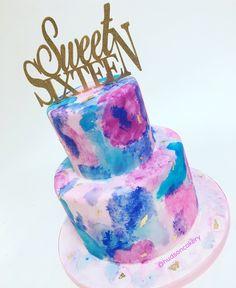 Awesome Image of Sweet Birthday Cakes . Sweet Birthday Cakes Sweet 16 Watercolor Cake The Hudson Cakery 16th Birthday Cake For Girls, Happy Birthday Sweet 16, 15th Birthday Cakes, Birthday Celebration, Teen Birthday, Birthday Ideas, Birthday Parties, Sweet 16 Cupcakes, Sweet Cakes
