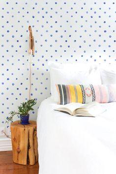 Blue Watercolor Dots, Boho Walls via Etsy