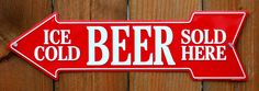 Pin Ice Cold Beer Sold Here Metal Arrow Tin Sign Beer Cave Store Garage Alcohol G90