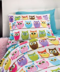 HOOT OWL 2-PC. TWIN SIZE BLANKET COMFORTER & SHAM SET KID TEEN BEDROOM BED DECOR #Unbranded