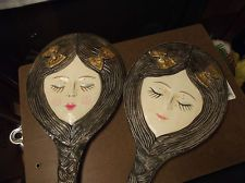 VINTAGE RARE GIRL FACE HAND MIRROR WITH LONG BRAIDED HAIR FOR HANDLE CHILD