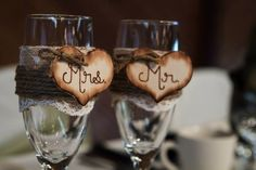 Rustic wedding toasting glasses But with mason jars