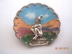 Vintage silver enamel pixie on mushroom pin