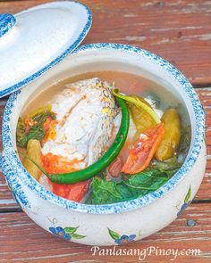 SINIGANG NA ISDA SA KAMIAS OR FISH SINIGANG (FISH IN SOUR BROTH) ==INGREDIENTS== 2 lbs. fish steaks or 2 whole fish, 12 pieces fresh or fresh frozen kamias (bilimbi), 4 plum tomatoes, 1 yellow onion, 4 pieces long green pepper, 6 to 8 leaves mustard greens, 6c water, Salt and pepper =======