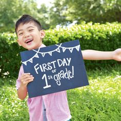 Capture this special moment in time with chalkboard sign for the first day of school.