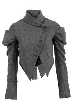 LADIES GREY WOOLEN WOMENS VICTORIAN ROUCHED SLEEVE JACKET