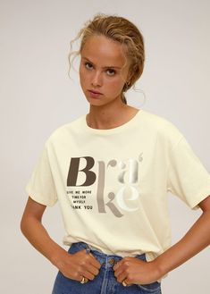 T Shirt Message, Image T, Mango France, Summer Outfits Women, Short Tops, Messages, Shirts For Girls, Boho Outfits, Printed Shirts