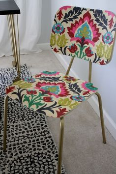"""Upholster"" a Wood Chair With Fabric and Mod Podge 