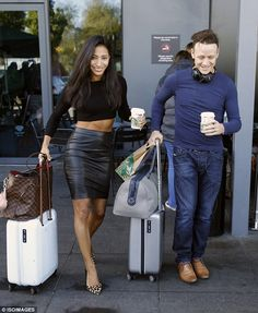 Wow thing: Newlyweds Karen Hauer and Kevin Clifton were also seen toting their luggage Strictly Professional Dancers, Kellie Bright, Georgia May Foote, Pvc Skirt, Strictly Come Dancing, Street Dance, Romantic Movies, Casual Looks, Leather Skirt