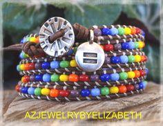 Unisex Bracelet  Rainbow Bracelet Gay by AZJEWELRYBYELIZABETH