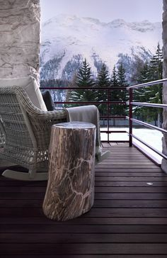 Such a wonderous view, all it needs is a couple steaming cups of coffee, and the two of us sitting there to enjoy it all... :)  Swiss Chalet by Kelly Hoppen