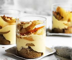 'Tis the season for trifle. From a show-stopping banana, brandy and butterscotch version to a gin-spiked rhubarb and vanilla number, you'll find more than a dozen trifle recipes here. Winter Desserts, Christmas Desserts, Pear Brandy, Mousse, Orange Creme, Roasted Pear, Banoffee, Christmas Cooking, Sweet Recipes