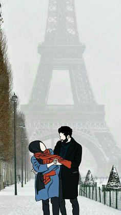 Tu hai to zindagi hai meri. Tu hai to hr khushi hai meri. Couple Musulman, Cute Couple Art, Cute Couple Pictures, Love Cartoon Couple, Cute Love Cartoons, Muslim Photos, Cute Love Images, Cute Muslim Couples, Islamic Cartoon