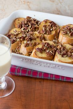 Eggnog Fench Toast Casserole : Two in the Kitchen What's For Breakfast, Christmas Breakfast, Breakfast Items, Breakfast Dishes, Breakfast Recipes, Eggnog French Toast, Banana French Toast, French Toast Casserole, Breakfast Casserole