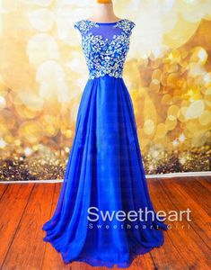 Blue A-line Beaded Long Prom Dress, Formal Dress, evening dress,#prom #promdress