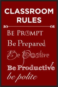 Classroom Rules Poster Multi-Colored - A Space to Create - TeachersPayTeachers.com  $1.99