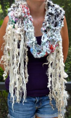 Hand Knit Multi color Scarf Handspun Raw Wool with by bpenatzer, $124.00