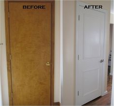 Flat panel door...add some picture mould and paint...new handle.....voila!