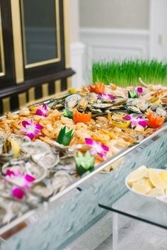 Traditional Ceremony + Ballroom Reception with Blue & Gold Décor - Inside Weddings Seafood Appetizers, Raw Bars, Dinners To Make, Floral Event Design, Reception Decorations, Wedding Reception, Shrimp, Blue Gold, Traditional