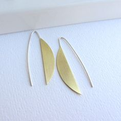 Half moon gold brass long earrings with sterling silver earwires, half circle geometric jewerly.