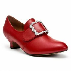 """The """"Kensington"""" 1770s-80s style shoe in crimson leather, from American Duchess. Can't wait to get these lovelies on my feet!"""