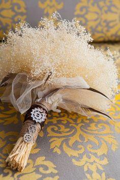 Steampunk wedding bouquet details.