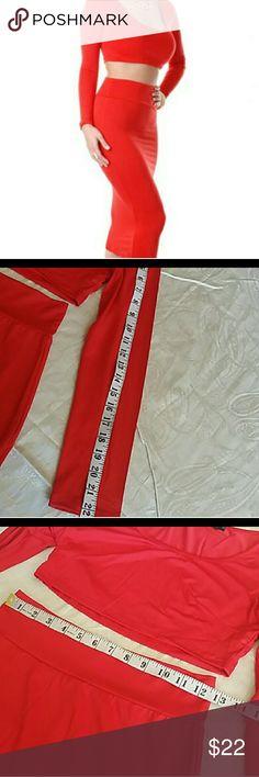 Red 2 piece midi skirt set Size medium stretch red 2 piece midi skirt set. Also available in orange size medium,  listed in my closet. Skirts Skirt Sets