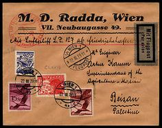 This cover is one of only a few items dispatched from Austria and flown by the LZ127 Graf Zeppelin from Friedrichshafen on the Orient flight and dropped over Er Ramle. The red flight cachet of the zeppelin flying over the pyramids is the variety produced with steel cachet rather than a rubber cachet. The destination is of special interest since not much mail was addressed to Palestine.