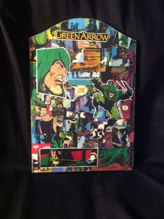 Green arrow comic book wood plaque  by EJcrafting on Etsy, $40.00