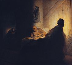 The Supper at Emmaus, by Rembrandt  i like the contrast in the work a lot.