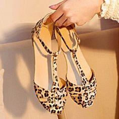 Restauración De Señoras De Las Mujeres Sandalias De Tacón Estampado Leopardo Zapatos Planos