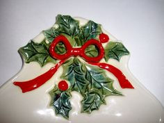 Vintage Lefton Christmas Plate Sectioned Holly Berry