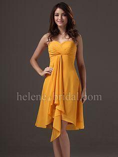 A-Line High Low Strapless Sweetheart Knee Length Chiffon Bridesmaid Dress - US$ 99.99 - Style BD9406 - Helene Bridal