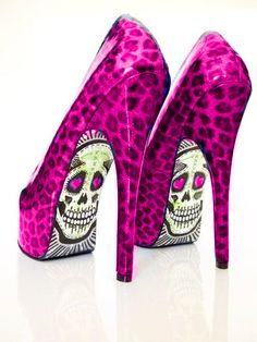 pink cheetah print with sugar skulls