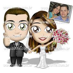 Caricatura para casamento - Noivos Silvia e Iarley - noivinhos cuttie2