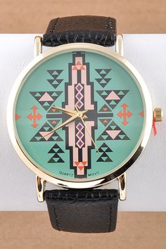 I have this and i love it!! from a store in indianapolis, available online Dottie Couture Boutique - Aztec Watch- Mint, $24.00 (http://www.dottiecouture.com/aztec-watch-mint/)