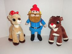 Rudolph the Red Nosed Reindeer Plush set.  Includes Rudolph, Clarice and Yukon Cornelius.  Perfect for Christmas. #gifts #stuffedanimals #toys