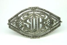 Marcasite-Sterling-Silver-Brooch-Pin-Vintage-Art-Deco-Mid-Century-NA-802