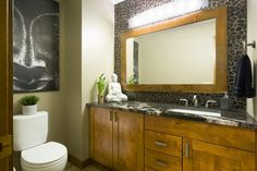 Often overlooked during home renovations, give some love your main floor bathroom – it's a good way to make a first-impression when hosting company Bathroom Renovations, Powder Room, Construction, Flooring, Furniture, Home Decor, Building, Decoration Home, Room Decor