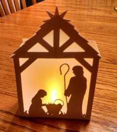 Tea light nativity Light Up Christmas Decorations, Christmas Crafts For Kids, Diy Christmas Ornaments, Holiday Crafts, Outdoor Nativity, Diy Nativity, Nativity Silhouette, Christmas Program, Christmas Inspiration