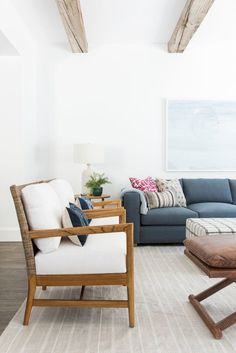 Living room remodel in a California home. Living room design and inspo. Wood beams, dark wood floors, white walls. Living room seating arrangement. Living room styling. Blue couch in living room.   Studio McGee Blog
