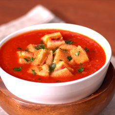 With bacon grilled cheese croutons tomato soup will never be the same.