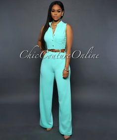 Crystal Mint Green Button Front Belted Jumpsuit