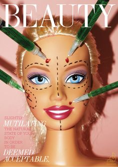 I think the image of barbie and plastic surgery is very overused when it comes to this kind of art, so it's just a bit much. Body Image Art, Plakat Design, Arte Obscura, Identity Art, Hidden Identity, A Level Art, Gcse Art, Human Condition, Art Sketchbook