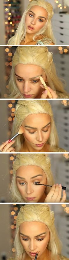 Complete your Khaleesi costume with this trending makeup idea. Game of Thrones costume halloween costume Halloween Costume Simple, Cool Halloween Makeup, Halloween Kostüm, Diy Halloween Costumes, Khaleesi Halloween Costume, Simple Costumes, Halloween Cosplay, Cosplay Makeup, Costume Makeup